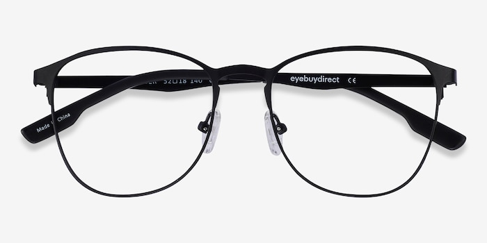 Ember Matte Black Metal Eyeglass Frames from EyeBuyDirect, Closed View