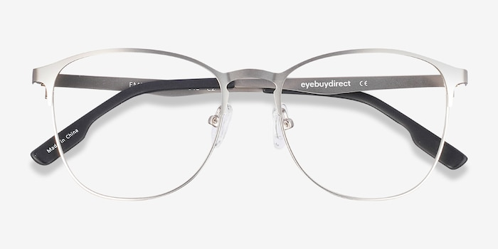 Ember Silver Metal Eyeglass Frames from EyeBuyDirect, Closed View