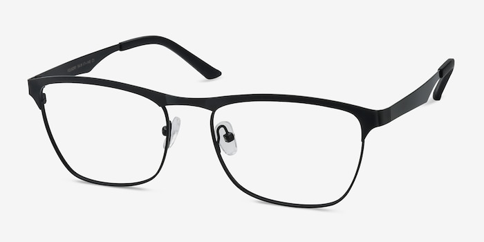 Foundry Black Metal Eyeglass Frames from EyeBuyDirect, Angle View