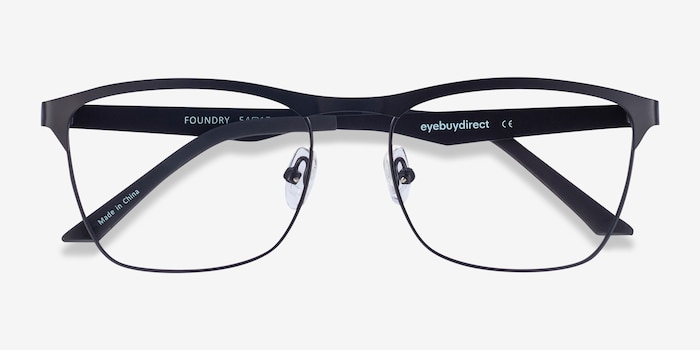 Foundry Black Metal Eyeglass Frames from EyeBuyDirect, Closed View