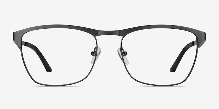 Foundry Gunmetal Metal Eyeglass Frames from EyeBuyDirect, Front View