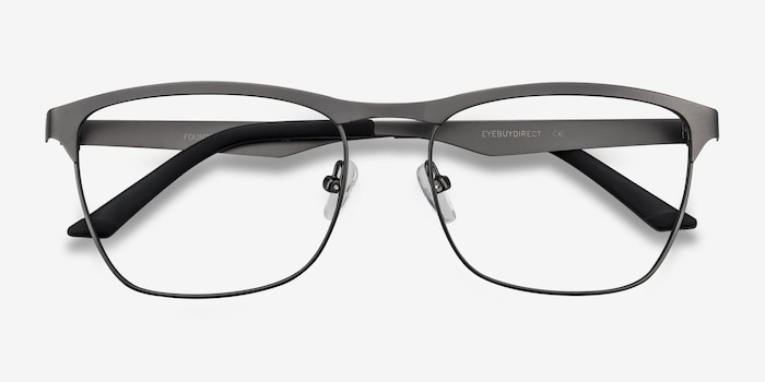 Foundry Gunmetal Metal Eyeglass Frames from EyeBuyDirect, Closed View