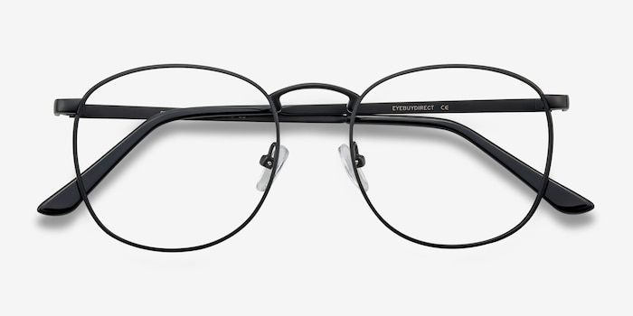 St Michel Black Metal Eyeglass Frames from EyeBuyDirect, Closed View