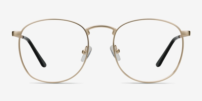 St Michel Golden Metal Eyeglass Frames from EyeBuyDirect, Front View