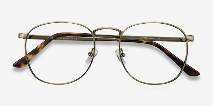 St Michel Bronze Metal Eyeglass Frames from EyeBuyDirect, Closed View