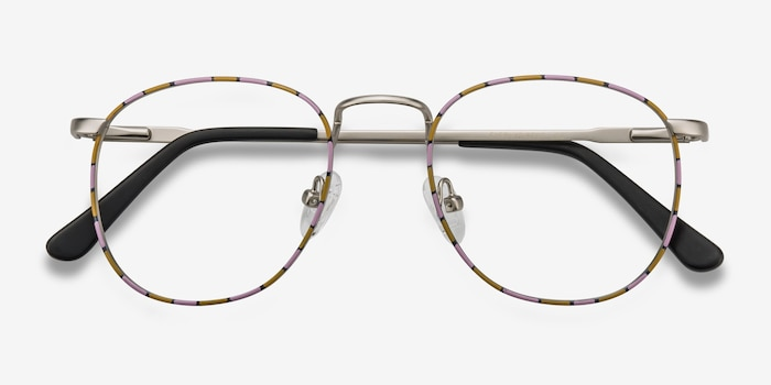 Blossom Silver Floral Metal Eyeglass Frames from EyeBuyDirect, Closed View