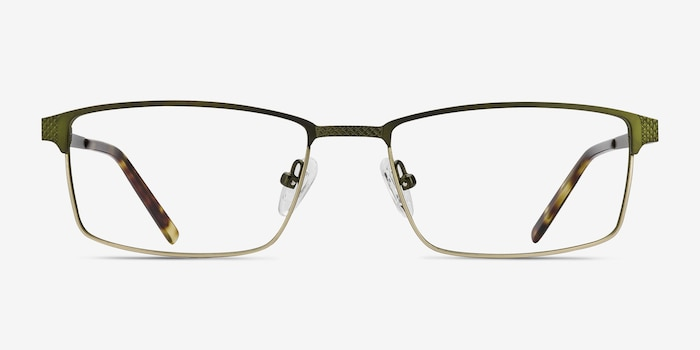 Prime Green Bronze Metal Eyeglass Frames from EyeBuyDirect, Front View