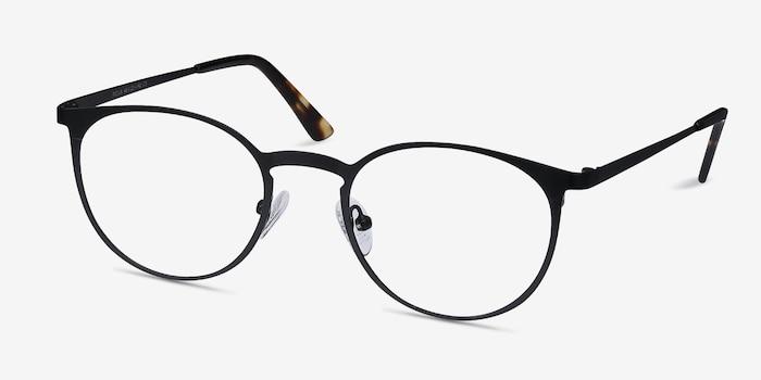 Radius Black Metal Eyeglass Frames from EyeBuyDirect, Angle View
