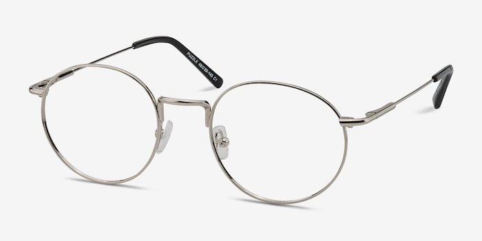 Puzzle Silver Metal Eyeglass Frames from EyeBuyDirect, Angle View