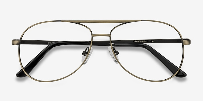 Discover Bronze Metal Eyeglass Frames from EyeBuyDirect, Closed View