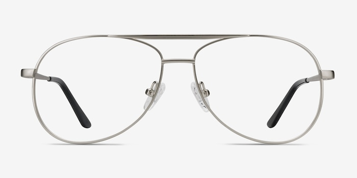 Discover Matte Silver Metal Eyeglass Frames from EyeBuyDirect, Front View