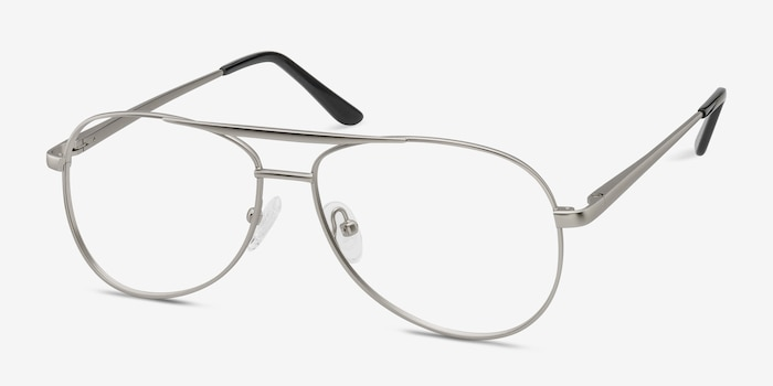 Discover Matte Silver Metal Eyeglass Frames from EyeBuyDirect, Angle View