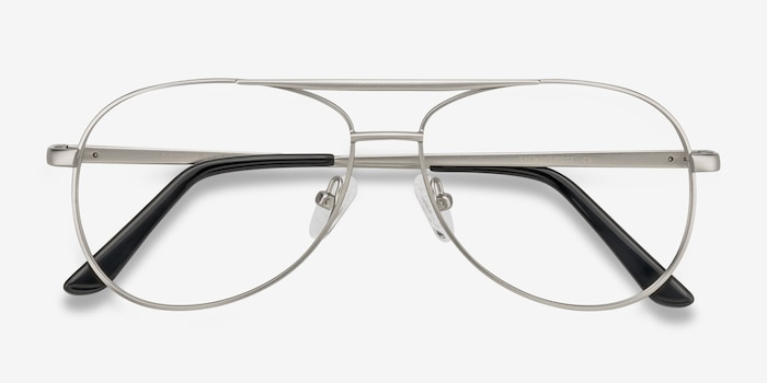 Discover Matte Silver Metal Eyeglass Frames from EyeBuyDirect, Closed View
