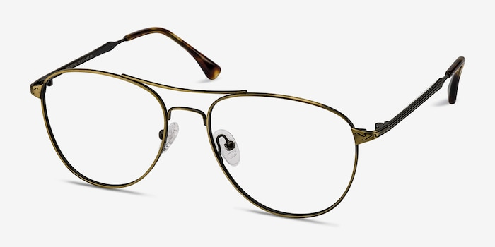 Westbound Bronze Metal Eyeglass Frames from EyeBuyDirect, Angle View