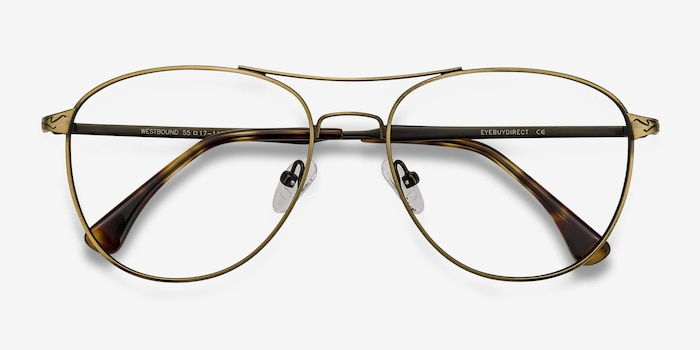Westbound Bronze Metal Eyeglass Frames from EyeBuyDirect, Closed View