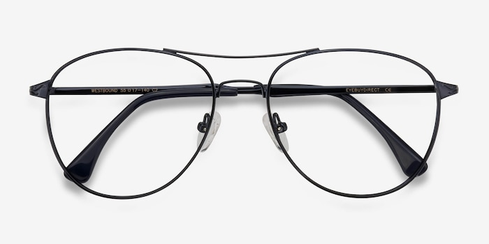 Westbound Dark Navy Metal Eyeglass Frames from EyeBuyDirect, Closed View