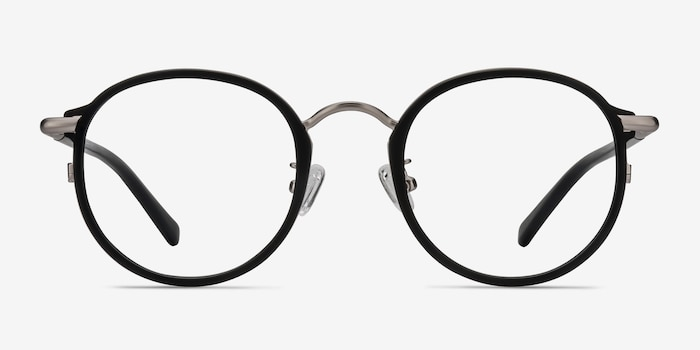 Carnival Matte Black Metal Eyeglass Frames from EyeBuyDirect, Front View
