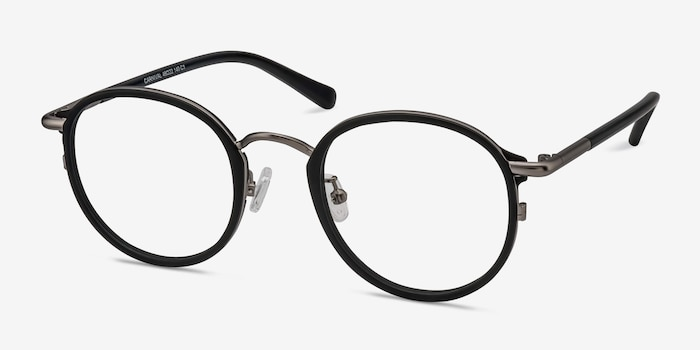 Carnival Matte Black Metal Eyeglass Frames from EyeBuyDirect, Angle View