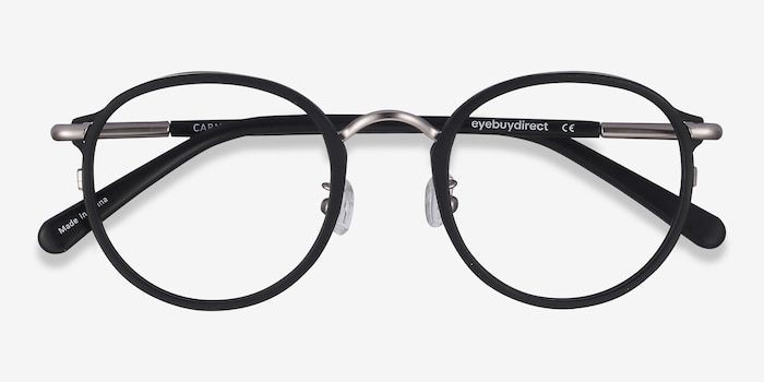Carnival Matte Black Metal Eyeglass Frames from EyeBuyDirect, Closed View