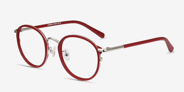 Carnival Matte Red Metal Eyeglass Frames from EyeBuyDirect, Angle View