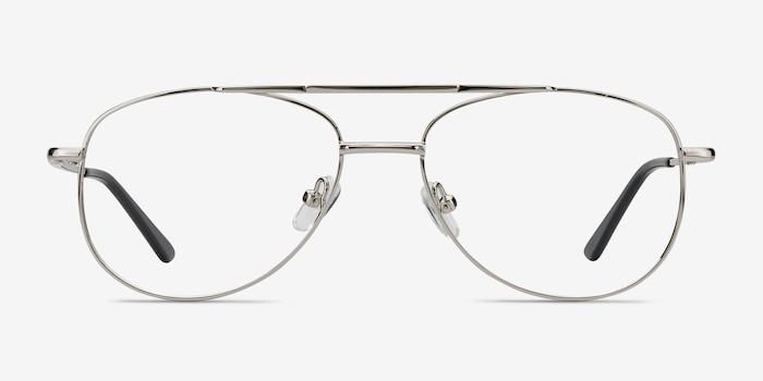 Tasker Silver Metal Eyeglass Frames from EyeBuyDirect, Front View