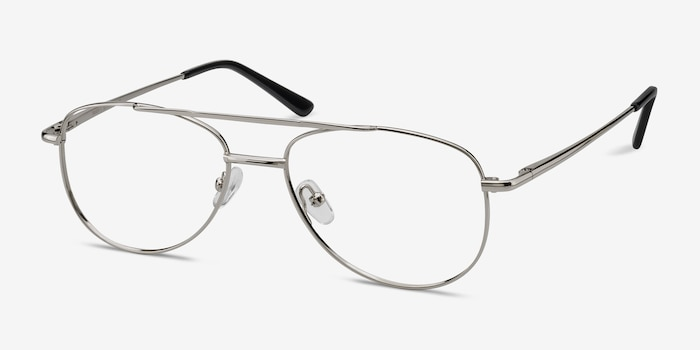 Tasker Silver Metal Eyeglass Frames from EyeBuyDirect, Angle View