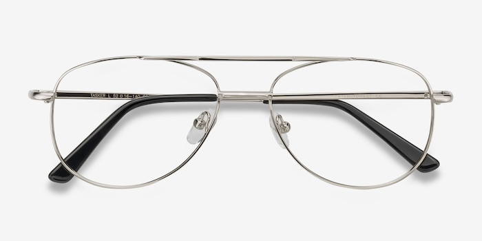 Tasker Silver Metal Eyeglass Frames from EyeBuyDirect, Closed View