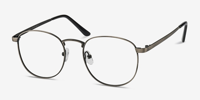 St Michel Gunmetal Metal Eyeglass Frames from EyeBuyDirect, Angle View