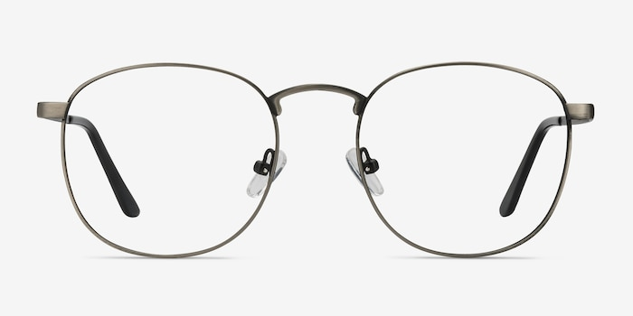 St Michel Gunmetal Metal Eyeglass Frames from EyeBuyDirect, Front View