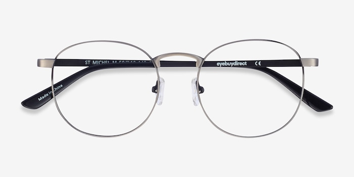 St Michel Gunmetal Metal Eyeglass Frames from EyeBuyDirect, Closed View