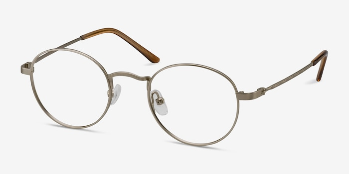 Cupertino Silver Metal Eyeglass Frames from EyeBuyDirect, Angle View