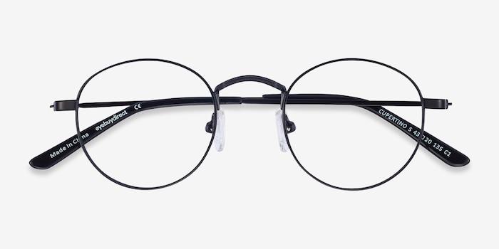 Cupertino Noir Métal Montures de Lunettes d'EyeBuyDirect, Vue Rapprochée
