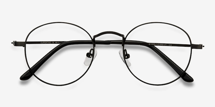 Cupertino Black Metal Eyeglass Frames from EyeBuyDirect, Closed View