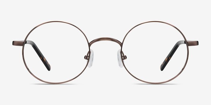 Socrates Brown Tortoise Metal Eyeglass Frames from EyeBuyDirect, Front View