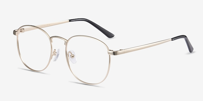 St Michel Golden Metal Eyeglass Frames from EyeBuyDirect, Angle View