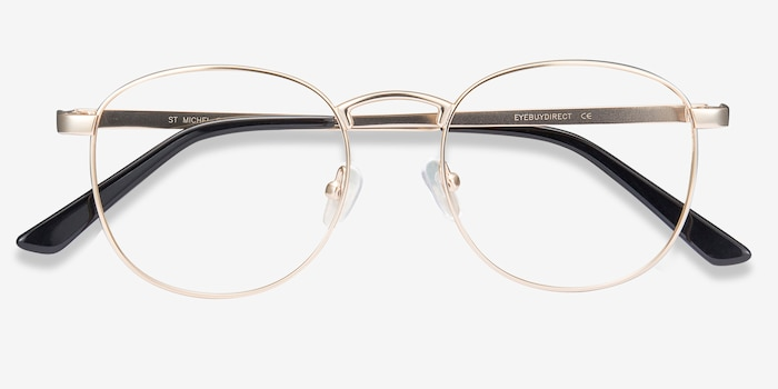 St Michel Golden Metal Eyeglass Frames from EyeBuyDirect, Closed View
