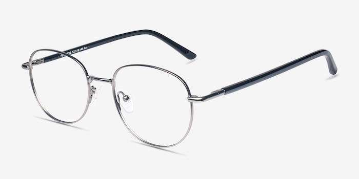 Pensieve Gunmetal Metal Eyeglass Frames from EyeBuyDirect, Angle View