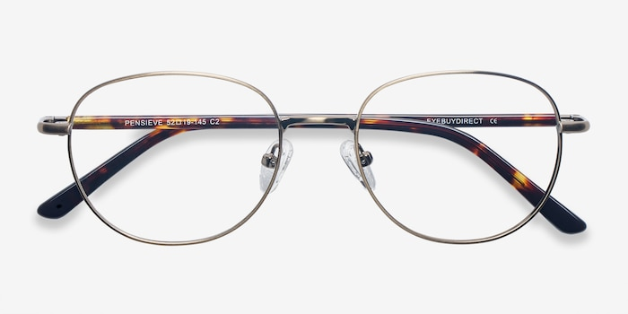 Pensieve Bronze Metal Eyeglass Frames from EyeBuyDirect, Closed View
