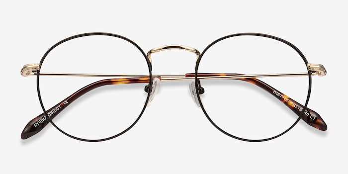 Wistful Black Metal Eyeglass Frames from EyeBuyDirect, Closed View