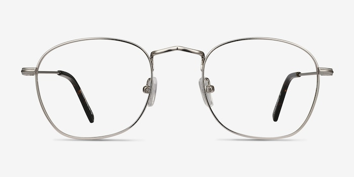 Sonder Silver Metal Eyeglass Frames from EyeBuyDirect, Front View