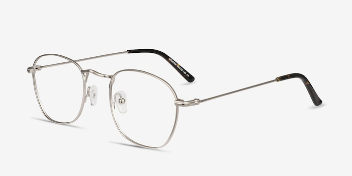 Sonder Silver Metal Eyeglass Frames from EyeBuyDirect, Angle View