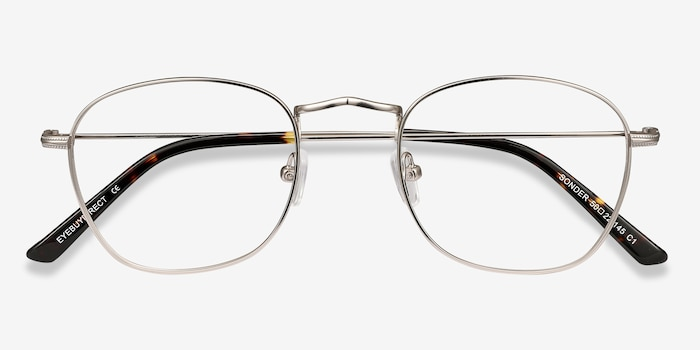 Sonder Silver Metal Eyeglass Frames from EyeBuyDirect, Closed View