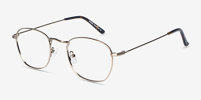 Sonder Bronze Metal Eyeglass Frames from EyeBuyDirect, Angle View
