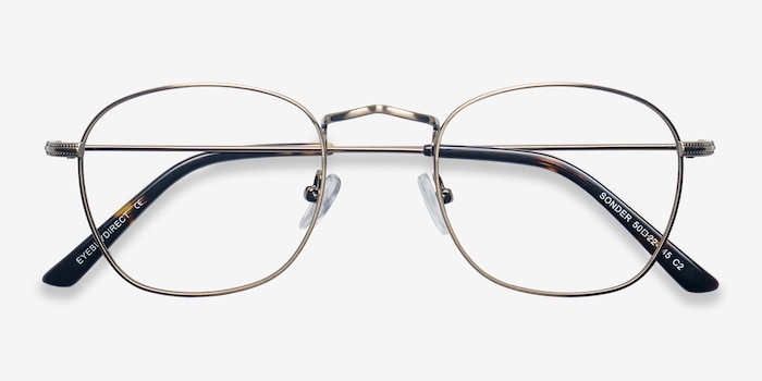 Sonder Bronze Metal Eyeglass Frames from EyeBuyDirect, Closed View