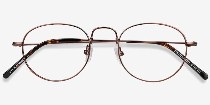 Chutzpa Coffee Metal Eyeglass Frames from EyeBuyDirect, Closed View