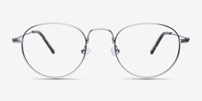 Chutzpa Gunmetal Metal Eyeglass Frames from EyeBuyDirect, Front View