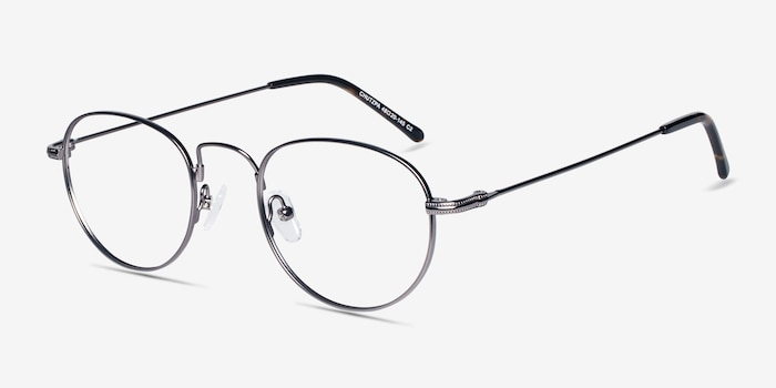 Chutzpa Gunmetal Metal Eyeglass Frames from EyeBuyDirect, Angle View