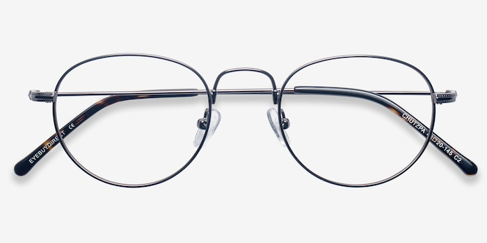 Chutzpa Gunmetal Metal Eyeglass Frames from EyeBuyDirect, Closed View