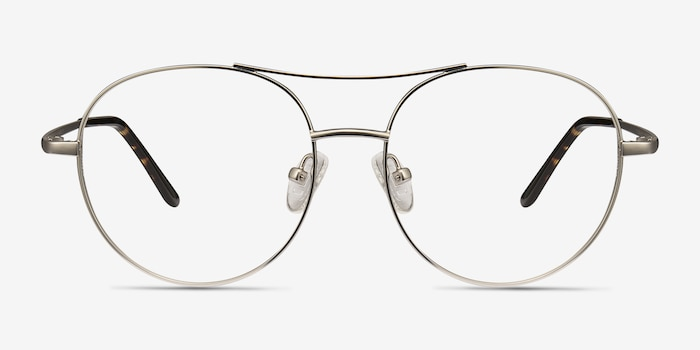 Cassini Silver Metal Eyeglass Frames from EyeBuyDirect, Front View