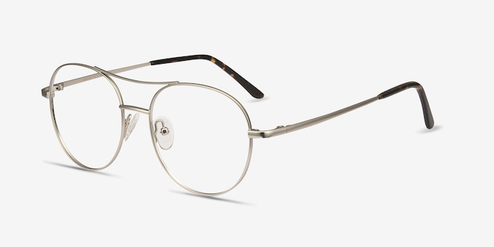 Cassini Silver Metal Eyeglass Frames from EyeBuyDirect, Angle View